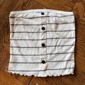 Strapless striped crop top